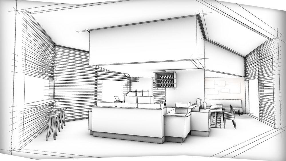 3D Gastro Animation Rendering Black White Skizze Counter Design