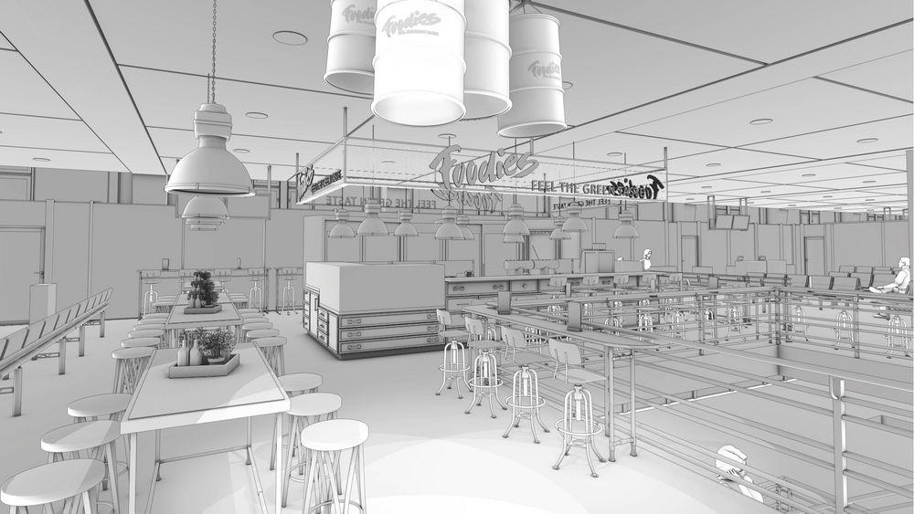 3d Visualisierung Stuttgart foodies flughafen gastro stuttgart 3d innenraum theken rendering